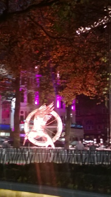 OMG A GIANT MOCKINGJAY IN LEICESTER SQUARE