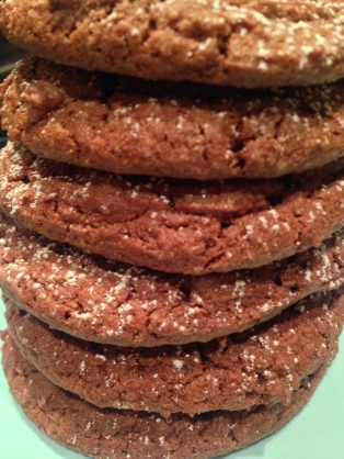 a dusting of icing sugar gives a nice finish to double chocolate cookies
